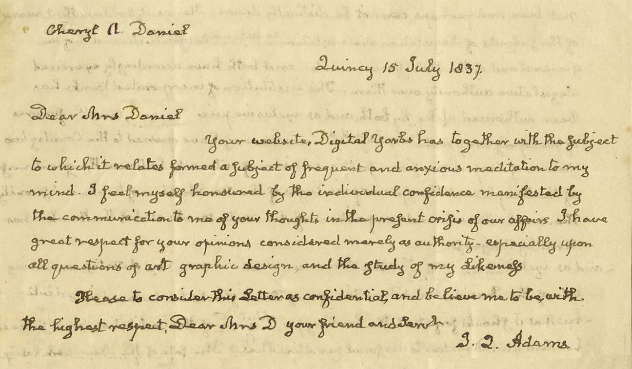 A personal letter from John Quincy Adams