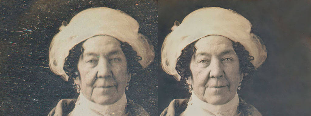 Dolley Madison AI enhanced before and after photographs