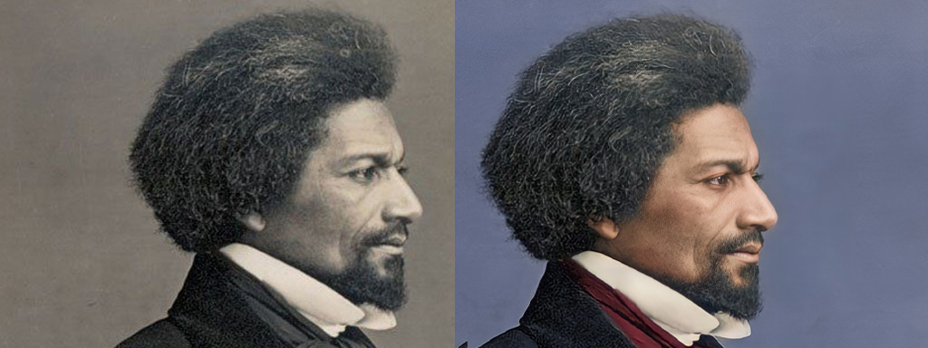 Frederick Douglass Colorized and AI enhanced before and after photographs