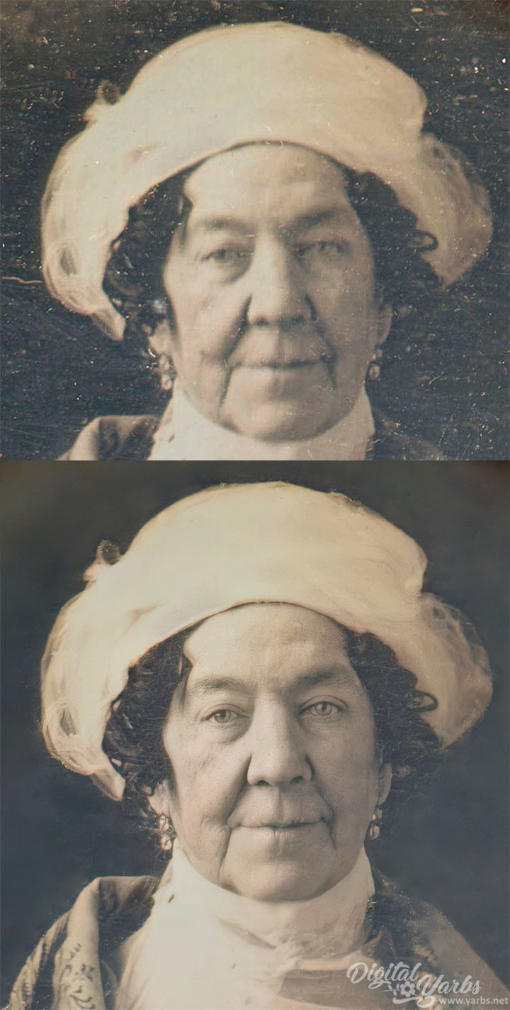 Dolley Madison Daguerreotype - Before and After