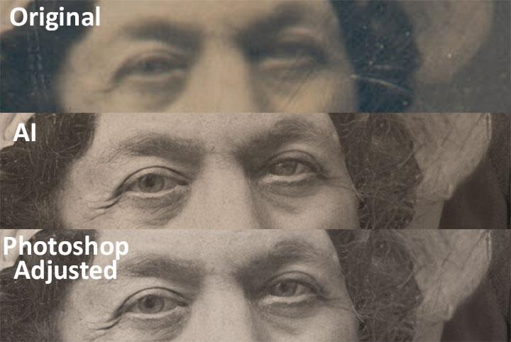 Dolley Madison daguerreotype adjustments with Photoshop and AI
