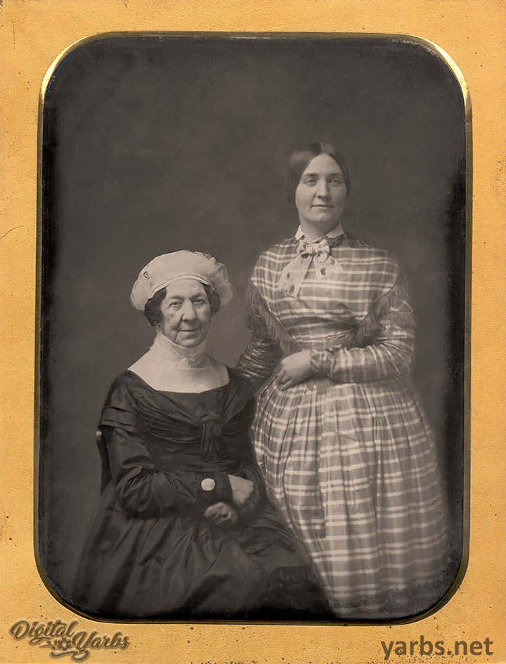 Photoshop and AI enhanced daguerreotype of Dolley Madison and Anne Payne