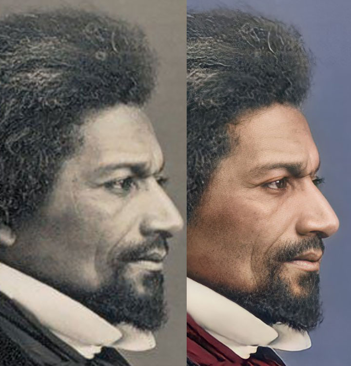 Comparison of the original daguerreotype with the colorized and AI enhanced daguerreotype
