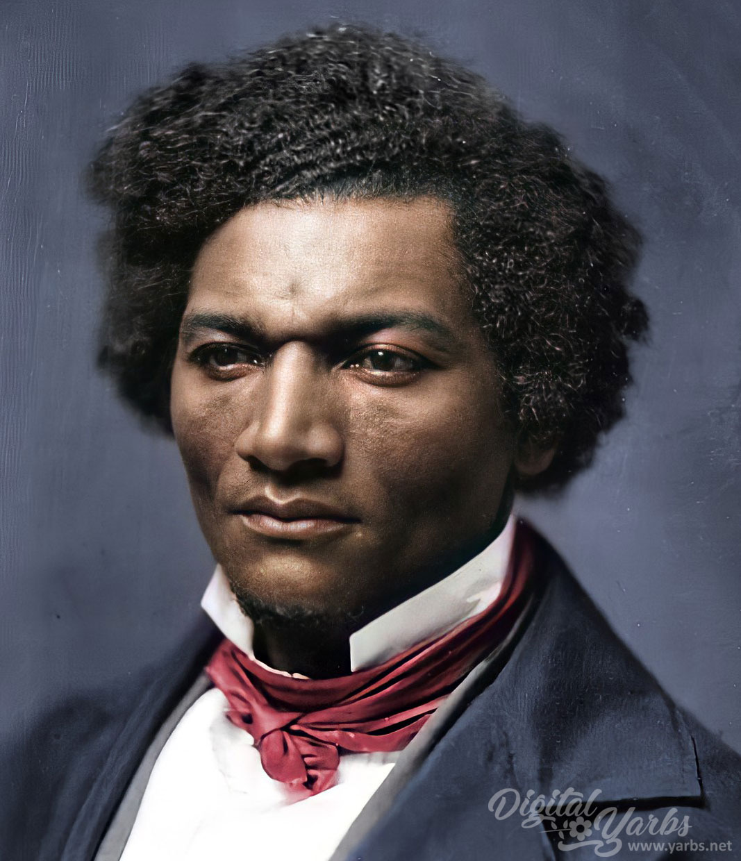 Close up view of Frederick Douglass Colorized and AI enhanced