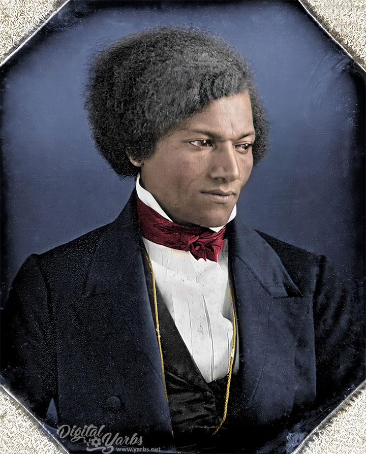 Close up view Frederick Douglass Colorized and AI Enhanced Daguerreotype