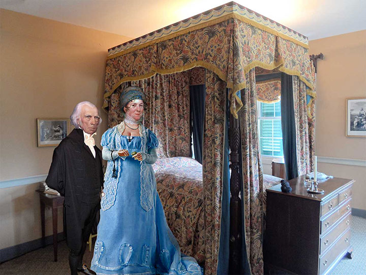 James and Dolley in their upstairs master bedroom at Montpelier