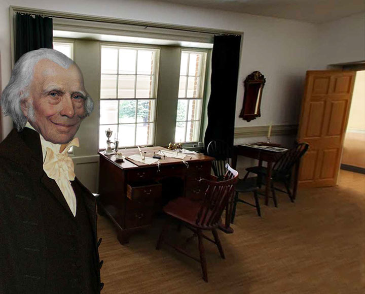 James Madison in his upstairs library