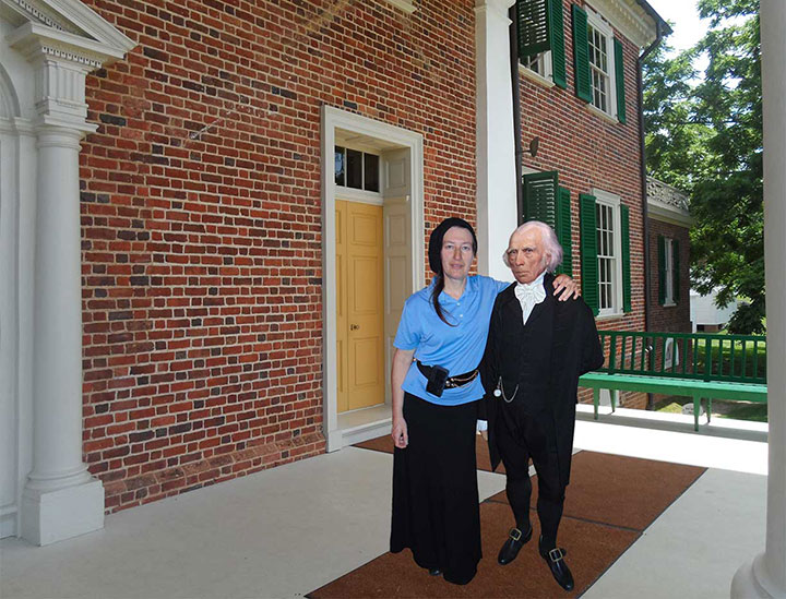 Cheryl Daniel and James Madison on the portico