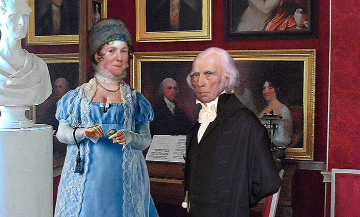 Close up view of James Madison and Dolley Madison in the Drawing Room of Montpelier
