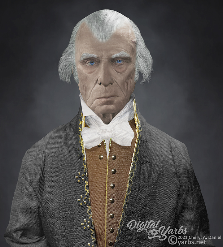 James Madison reconstructed life mask with Photoshop