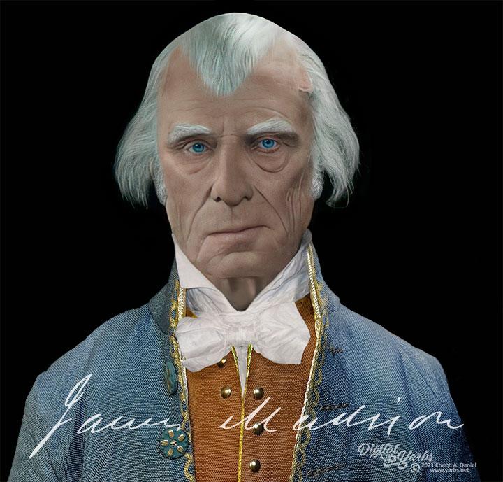 James Madison enhanced life mask reconstruction showing facial expression change.