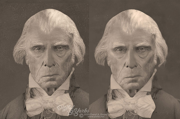 James Madison life mask reconstruction enhancement
